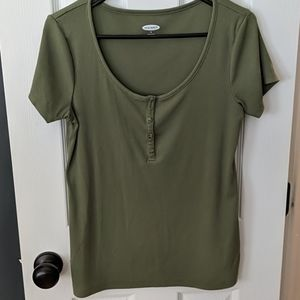 Army green Henley top